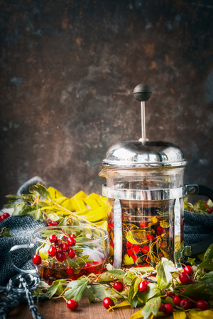 Autumn tea with hawthorn berries on rustic background with warm scarf , front view