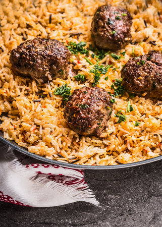 Meat balls with rice dish , close up