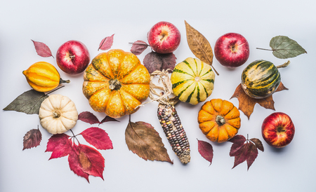 Autumn flat lay composing with pumpkin, apples and fall leaves , top view Stock Photo