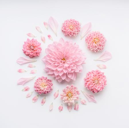 Composição pálida cor-de-rosa redonda das flores com as pétalas no fundo branco do desktop, configuração lisa, vista superior. Layout floral criativo ou cartão para o dia das mães, casamento, feliz evento ou aniversário