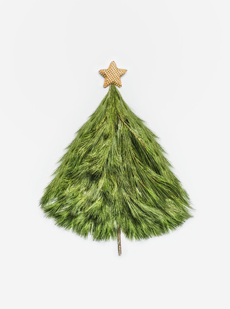 Christmas tree made with cedar branches with gold stars on white background, top view. Layout of holiday greeting card for festive decorating