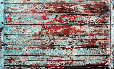 Blue red old vintage timber boards texture background
