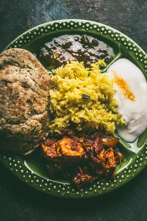 Bowl with traditional Indian foods, top view, close up Stock Photo