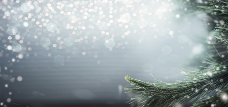 Wonderful winter background with fir branches, snow and bokeh lighting. Winter holidays and Christmas concept