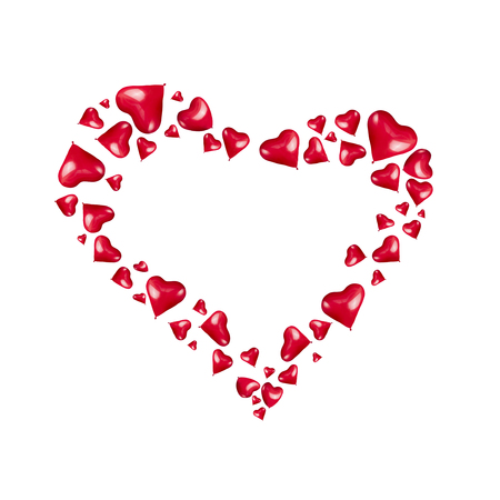 Heart made of red heart shaped balloons hearts on white background, isolated. Love or valentines day concept 스톡 콘텐츠