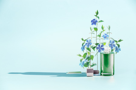 Herbal skin care cosmetics and beauty concept. Green Facial Serum or oil bottle with dropper or pipette and medical flowers and herbs stand at  blue background, front view. Minimal creative layout