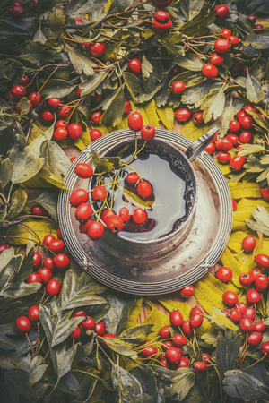 Vintage mug with herbal autumn tea with red berries, top view