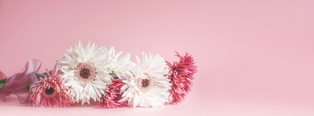Pink floral banner or template background with beautiful flowers bunch