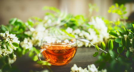 Cup of fresh herbal tea with honey on wooden table with green branches and blossom, front view. Selective focus, horizontal. Stock Photo