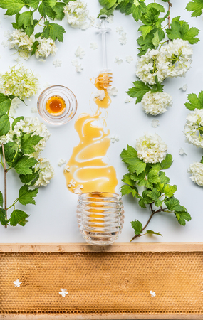 Honey stains from jar  with flowers and honey comb on white background, top view
