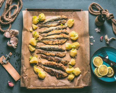 Grilled sardines with potatoes on baking tray with ingredients: lemon, garlic and herbs for tasty seafood eating. Cooking preparation of fishes