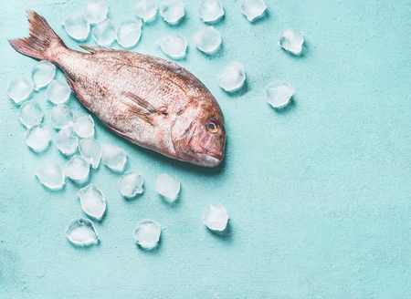 Raw whole fish on turquoise light background with ice cubes, top view. Seafood concept. Pink dorado. Cooking preparation