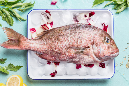 Raw whole fish in tray with ice cubes on light turquoise background with heabs and spices, top view. Seafood concept. Pink dorado cooking preparation Stock Photo
