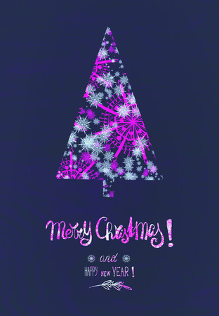 Christmas card with snowflakes Christmas tree in purple neon color with text lettering: Merry Christmas and Happy New Year Standard-Bild