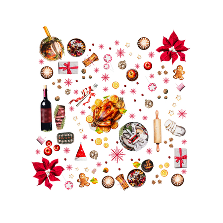 Various Christmas foods for Christmas dinner. Composition pattern , isolated on white background, top view
