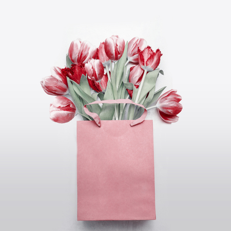 Red tulips bouquet in paper shopping bag on  light gray background. Festive spring flowers bunch. Floral gift composing. Springtime holiday , greeting or sale concept. Copy space for your design Stock Photo