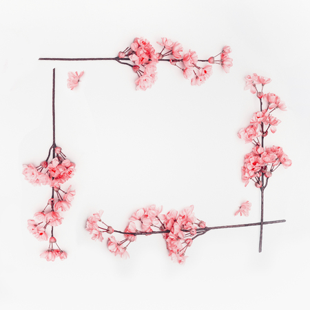 Coral color spring blossom flowers frame on white background. Floral composing. Top view, flat lay