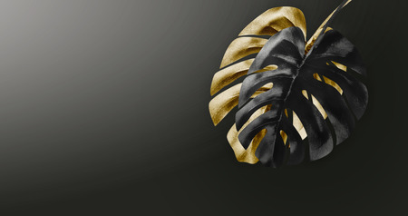 Black and gold tropical leaves arrangement at dark gradient background with copy space. Creative exotic botanical design. Template for luxury and glamour products, events , promotion or advertising