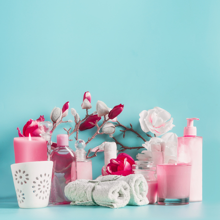Pink white Spa setting  with towels