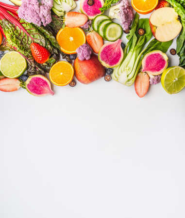 Various summer fruits and vegetables on white background , top view. Food border. Healthy lifestyle Stock Photo