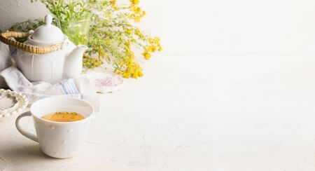 Herbal tea background with cup with yellow tea , tea pot and fresh herbs and flowers on white table at wall. Organic Tutsan tea. Wild medicinal plant concept. Copy space for your design or product.