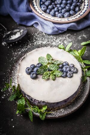 Blueberry no bake vegan cheesecake with coconut milk , decorated with fresh blueberries and mint leaves on dark rustic background
