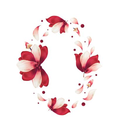 Beautiful red flowers and petals circle frame, isolated on white background. Creative floral layout. Flying flowers. Red Amaryllis flowers wreath
