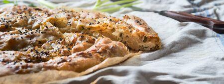 Close up of piece of Turkish savory pastry pie with Phyllo dough. Su boregi, burek or borek