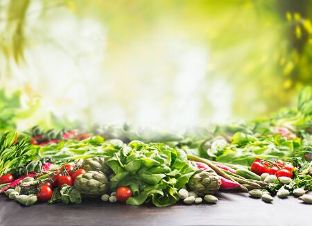 Clean organic  farm vegetables background at sunny summer  garden green nature background. Eco veggies . Healthy food concept.  Tomato, lettuce, root vegetables,artichokes, asparagus,herbs,carrots.