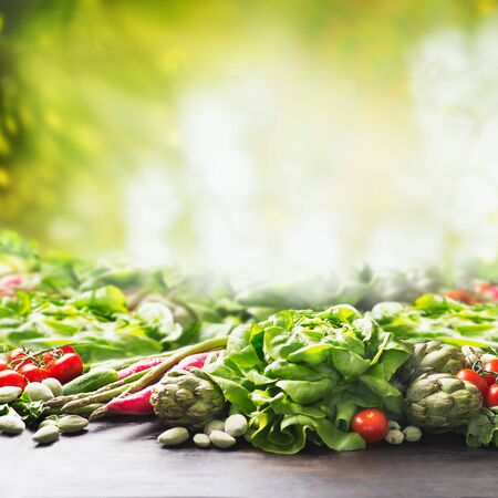 Organic farm vegetables background at sunny summer  garden green nature background. Eco veggies . Healthy clean food concept.  Tomato, lettuce, root vegetables,artichokes, asparagus,herbs,carrots