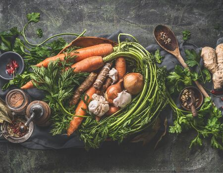 ingredients for preparing healthy food, laid out on a rustic background, with vintage spoons and bowls Zdjęcie Seryjne