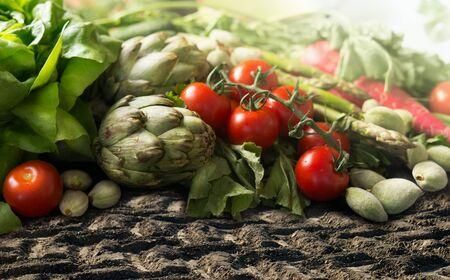 Fresh organic mediterranean vegetables lies on soil  : tomatoes, green almond, artichokes, asparagus , lettuce. Various organic veggies on garden growing bed ground. Close up. Zdjęcie Seryjne