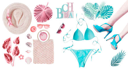 Beauty beach set with various female accessories: bikini, sandals, palm leaves, hats, drinks, shells, sunglasses on white background. Pastel color. Pink and turquoise blue