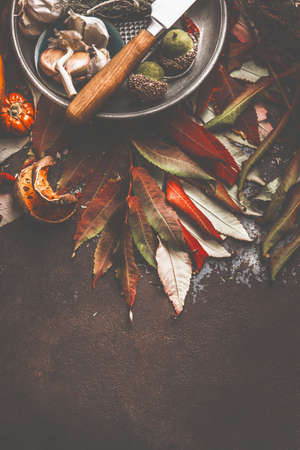 Autumn leaves on dark table with knife and spices. Top view Standard-Bild