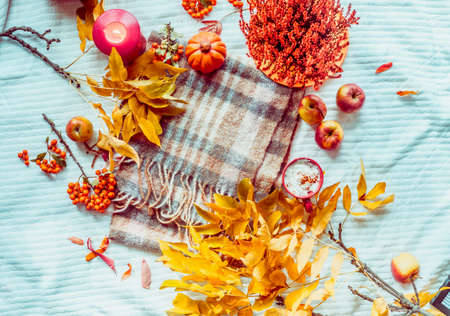 Autumn lifestyle frame with pumpkins, yellow fall leaves, cappuccino and candles on white blanket. To view. Flat lay Standard-Bild