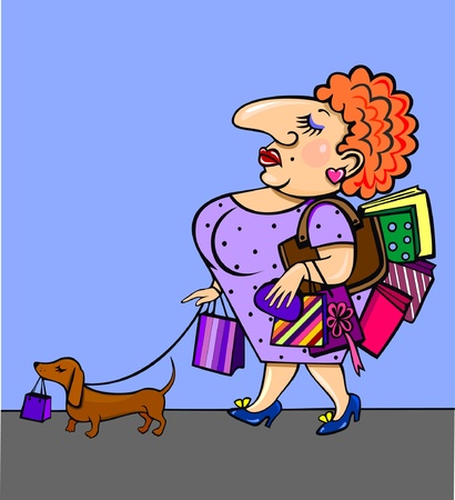 Illustrations The woman with a dog