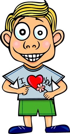the enamoured: Illustration The enamoured boy with a flower Illustration