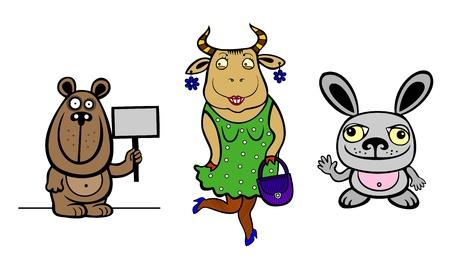 three animals: Tre animali Orso mucca in un coniglio vestito