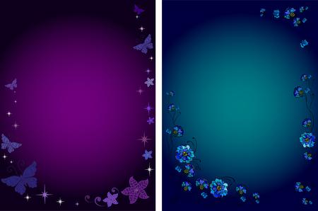 fondos violeta: Dos fondos oscuros. Violeta y azul. Flores y mariposas.