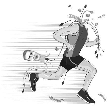 Runner sportsman without head. broken man.doping. get rid of thoughts.