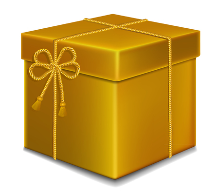 valentineday: gift box  gold color with bow rope . Illustration