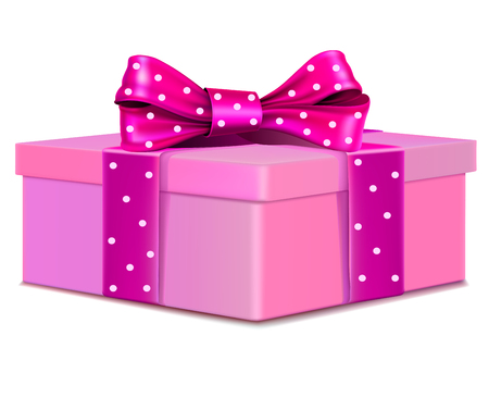 valentineday: pink gift box with polka dot bow. feminine