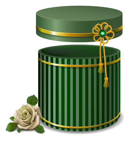valentineday: green striped  gift box and white rose .  retro style . Illustration