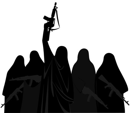 terrorist attack: silhouette terrorists women  with weapons in  burqa .  danger terrorist attack and War . Illustration