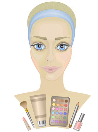 womans: beauty womans face . make-up cosmetics . Illustration