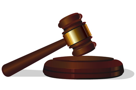 legal system: auction.law court hammer on white background .