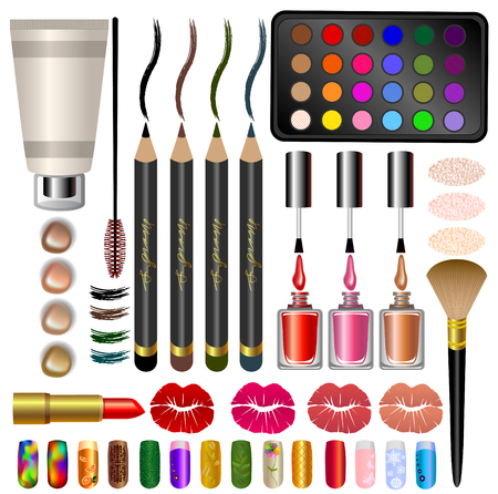 samples: set samples, different cosmetics and makeup.multicolored Illustration