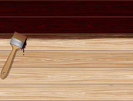 Wooden boards  background and paint brush. Illustration