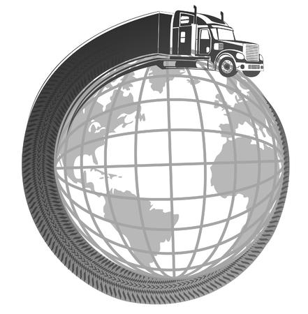 Symbol-Logo LKW Versand rund um den Planeten Erde.