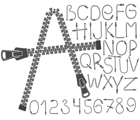 kreatywna czcionka zip. Litery i cyfry alfabetu. Ubrania do szycia. Ilustracje wektorowe